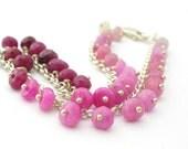 Pink Ruby Bracelet custom length genuine pink, red, white ruby gemstones sterling silver bracelet july birthday birthstone australia