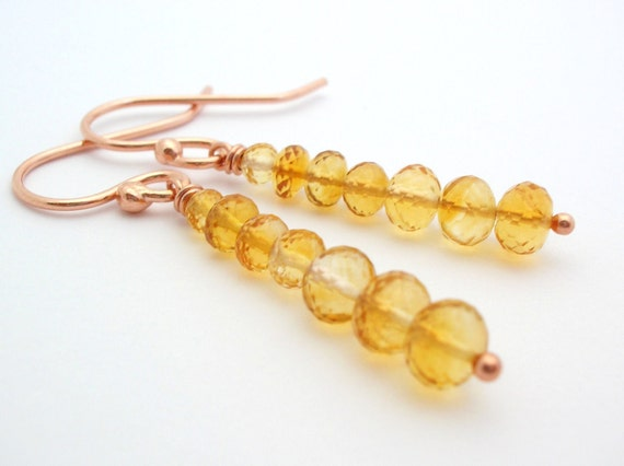 Citrine Earrings rose gold jewelry mustard yellow gemstone jewelry november birthstone