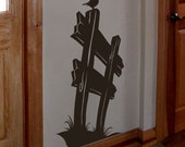 Bird on a Fence vinyl wall decal,  country primitive decor, board fence, silhouette decal, song bird