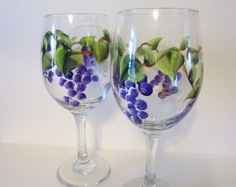2 *  Handpainted Grape Wine Glasses