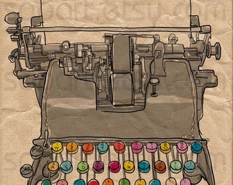 Typewriter vintage -Digital Image Sheet -Original Illustrate Drawing  A4 Print transfer on Pillows, t-shirts, scrapbook, lampshades  ETC.v