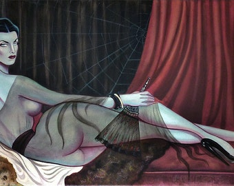 "Le Vamp Odalisque 11"" x 17"" poster vampira pin up dark goddess"