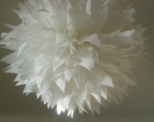 OPTIC WHITE / 1 tissue paper pom pom / wedding decorations / diy / birthday poms / bar mitzvah decor / baptism party / white pom decorations