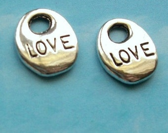 SALE - 20 'LOVE' charms, silver tone, 14mm