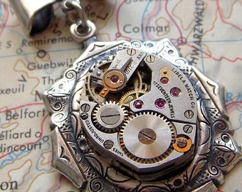 Steampunk Necklace Jewelry Feminine & Petite Vintage Antique Watch Movement Hangs From Tiny Bow Silver Plated Gothic Victorian