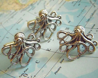 Octopus Cufflinks & Tie Tack Set of 3 - Original Cufflink Design By Cosmic Firefly Las Vegas