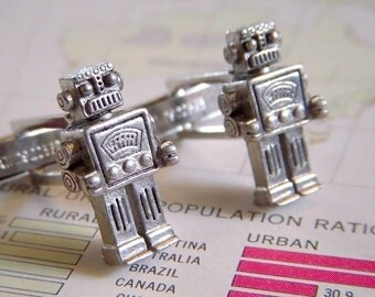 Robot Cufflinks Men's Cufflinks Handcrafted Cufflinks By Cosmic Firefly Men's Gifts Father's Day Gifts For Men Groomsman Gifts Wedding NEW