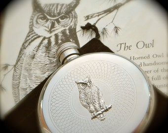 Silver Owl Flask Round Gothic Victorian Steampunk Flask Vintage Inspired Accessories