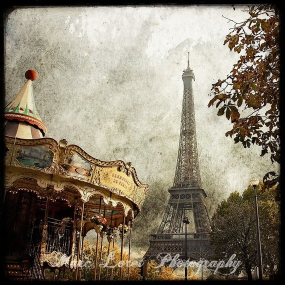 The Carousel and The Eiffel Tower - Fine Art Print - Etsy Wall Art - TFTeam - Paris Architecture Photograph