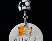Custom Soccer Necklace - Team Jewelry, Personalized Sports Jewelry, Hand Stamped Sports Jewelry, Sports Mom Jewelry