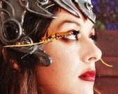 Firefly - Iridescent Orange & Gold Striped Feather Eyelashes w/ Swarovski Crystals - By Moonshine Baby