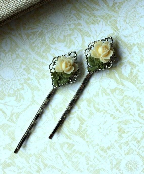 A Pair (Set of 2) Tiny Ivory Cream Rose Filigree Silver Plated Hair Bobby Pins - Bridesmaid Gift Ideas. Junior Bridesmaid. Flower Girl.