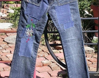 Patched pants, Embroidered, Resurrected Jeans, Bloody Clem'nt, upcycled Diesel denim, low rise jeans, festival, boho, hippie