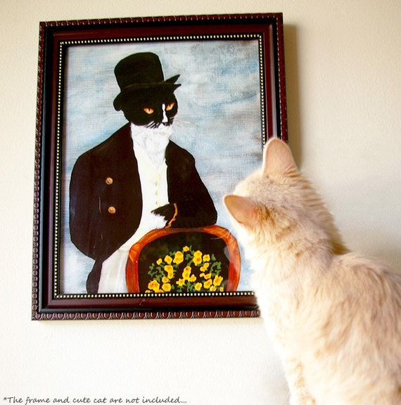 Tuxedo Cat Art, Mr Darcy Cat Gentleman Wearing Coat and Top Hat 8x10 Art Print CLEARANCE
