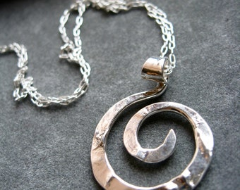 Mini Sterling Silver Rugged Spiral Pendant Necklace