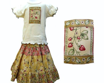 Girls Strawberry Outfit Mid-calf length Skirt Vintage Inspired Girl's Outfit Long Skirt & Top Set Boutique Girl Clothes Tiered Twirl Skirt