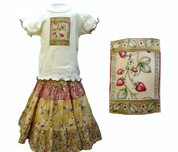 Girls Strawberry Outfit Mid-calf length Skirt Long Skirt & Top Set Boutique Girl Clothes Tiered Twirl Skirt 4 5 6 7 Kids Fall Back to School