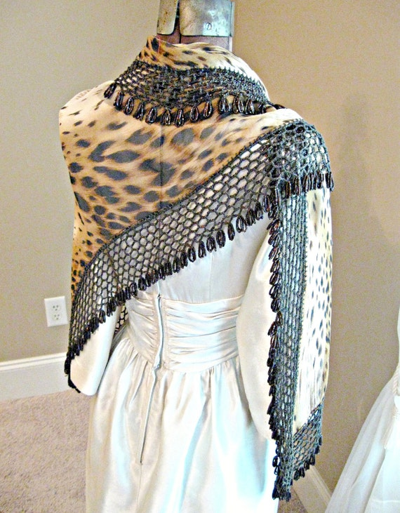 Vintage shawl / wrap. Animal print with hand crochet heavily beaded border. Hippie, boho.