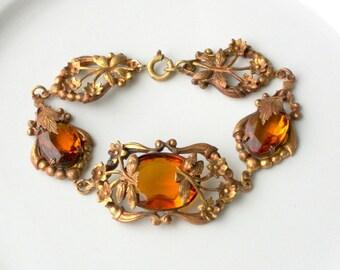 Antique Glass Bracelet. Edwardian. Art Nouveau. Amber Glass.