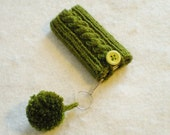 Green Olive Cable Knit 7th Gen iPod Nano Cozy, Holder Sleeve Pouch Pocket Sock Cabled Lime Sage Grass Clover Tree Forest Avocado Pom Pom