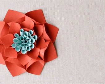 SALE - As sold in ANTHROPOLGIE - Paper dahlia gift topper/table decor/place card setting in persimmon, gift topper, holiday favor