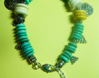 Colorful Color-block White Yellow Sleeping Beauty Turquoise Heishi Sterling Silver Charm Bracelet