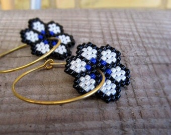 SALE 30% OFF! Earrings - Sailor Floral - Navy Blue, Pearl White, Black and Gold