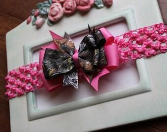 Hot Pink New MOSSY OAK Break Up Camo Bow Stretch Headband