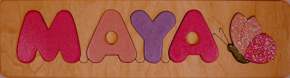 Wooden Name puzzle with Butterfly, a great birth gift, shower gift, first birthday gift, Christmas gift for girls - an educational toy