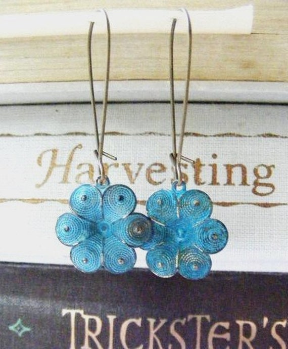 Blue Turquoise Patina Brass Flower Vintage Shabby Chic Style Dangle Earrings on Kidney Shaped Ear Wires