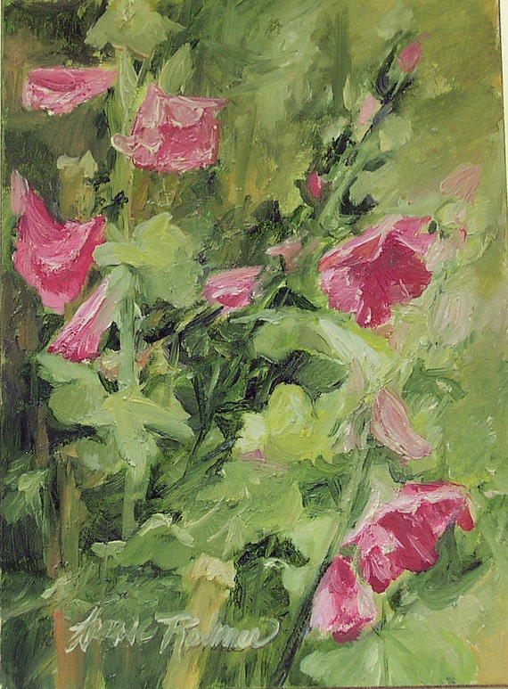 Hollyhock Oil Painting Botanical Garden Flowers Original Artwork by Laurie Rohner