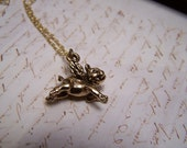 When Pigs Fly...Flying Pig Necklace in Antique Gold