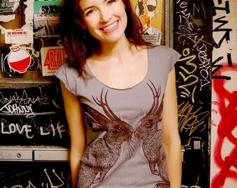 Kissing Jackalope tshirt - eco brown ink screenprint on slate grey cotton - womens sizes S, M, L, XL