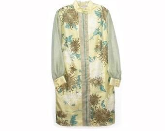 Alfred Shaheen Dress 1960s vintage size 18, Asian Spider Chrysanthemums Designer Dress Large