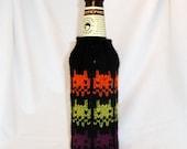 8-Bit Cthulu Hand Knit Beer Koozie - Black, Orange, Lime Green, and Bright Plum Purple