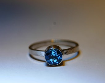 Custom Sterling Silver Ring with 6mm Gemstone - 16 Gemstone Choices - Made to Order