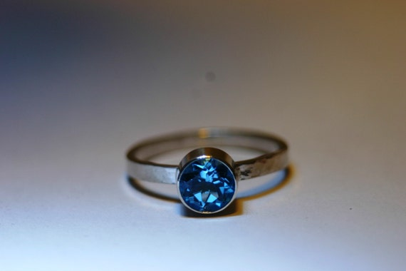 WDW - 9 Gemstone Choices - Sterling Silver Ring with 6mm Gemstone - Made to Order