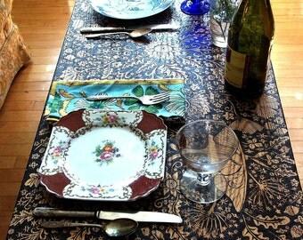 custom coffe table-flower bird moth night garden ooak hand drawn wood burned design by cecilia galluccio