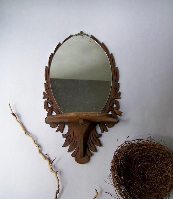 Antique Wall Mirror W Shelf Decorative Scroll Cut Wooden