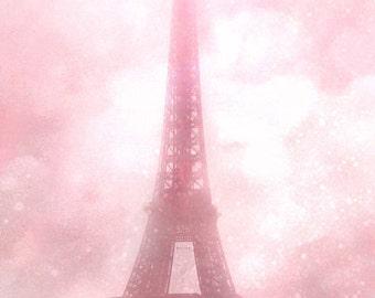 Pink Eiffel Tower Print, Shabby Chic Paris Decor, Paris Photography, Baby Girl Nursery Decor, Pink Eiffel Tower Photo, Eiffel Tower Prints