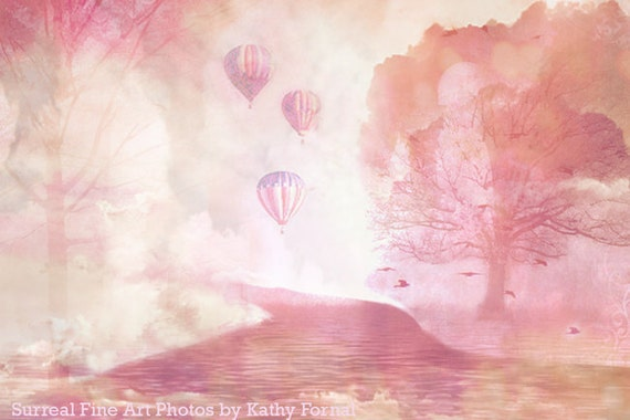 Pink Nature Photography, Dreamy Baby Girl Nursery Room Art, Fairytale Baby Pink Hot Air Balloons, Fantasy Nature Prints, Baby Girl Nursery