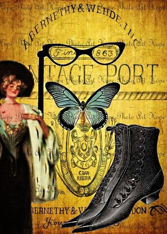 Vintage Port Glamour Girl 5x7 Digital Collage Sheet scrapbooking paper supplies printable art greeting cards - U Print