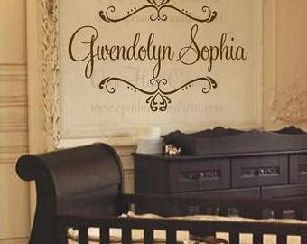 """Shabby Chic Name Wall Decal - Monogram Vinyl - Personalized Wall Decal - Baby Girl Nursery Decor 22""""H x 32""""W FN0188"""