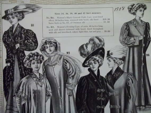 SALE....Fancy Coats, Mink Stoles and Large Hats with Prices - Antique Fashion Catalog Advertising Page - 1908