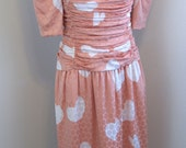 Silk HEART print... VTG Diane Dickinson dress