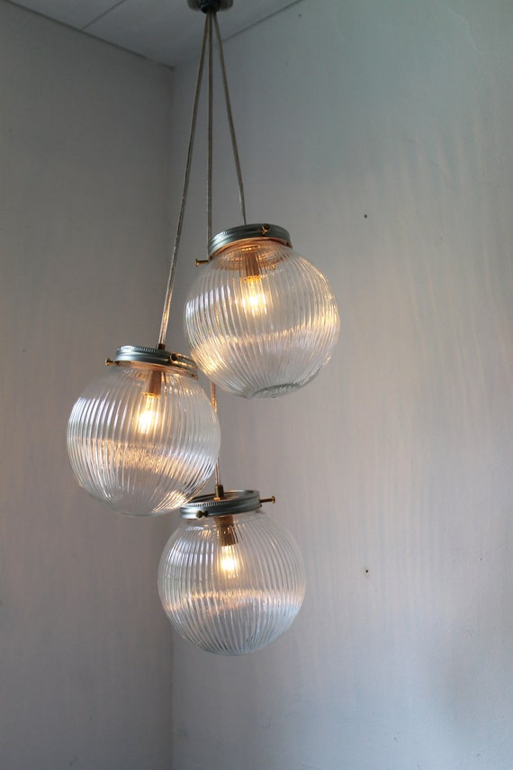 Sparkling Cluster Chandelier Lighting Fixture 3 Round Ribbed