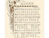 JOY To The WORLD - Custom Christian Home Decor - Christmas Carol Wall Art- Antique Hymn VintageVerses Holiday Sheet Music Isaac Watts Handel