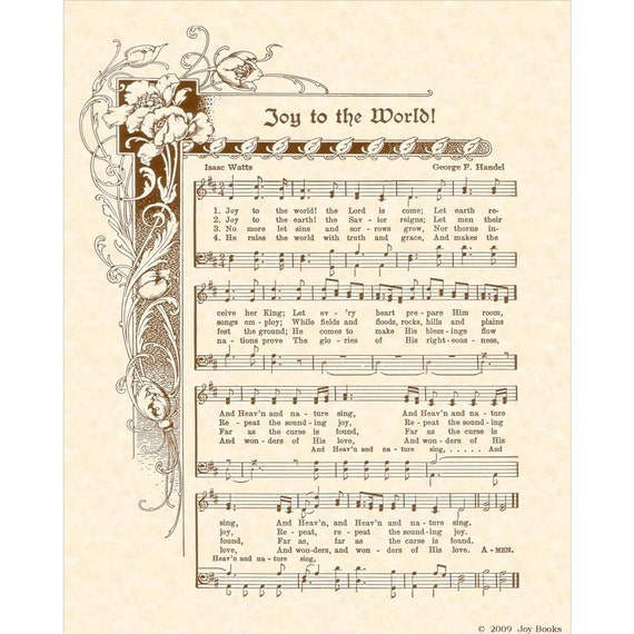JOY To The WORLD - Custom Christian Home Decor - Christmas Carol Wall Art- Antique Hymn VintageVerses Holiday Sheet Music Isaac Watts Handel