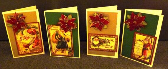 Vintage Santas with 3D Velvety Flocked & Glittered Poinsettia Embellishments - Gorgeous Set of 4 Handmade Christmas Cards - FREE Shipping