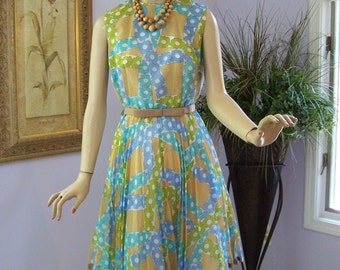 Vintage 60s Dress Toni Todd Sheer Floral Cotton Day Dress Full Skirt w Original Tags